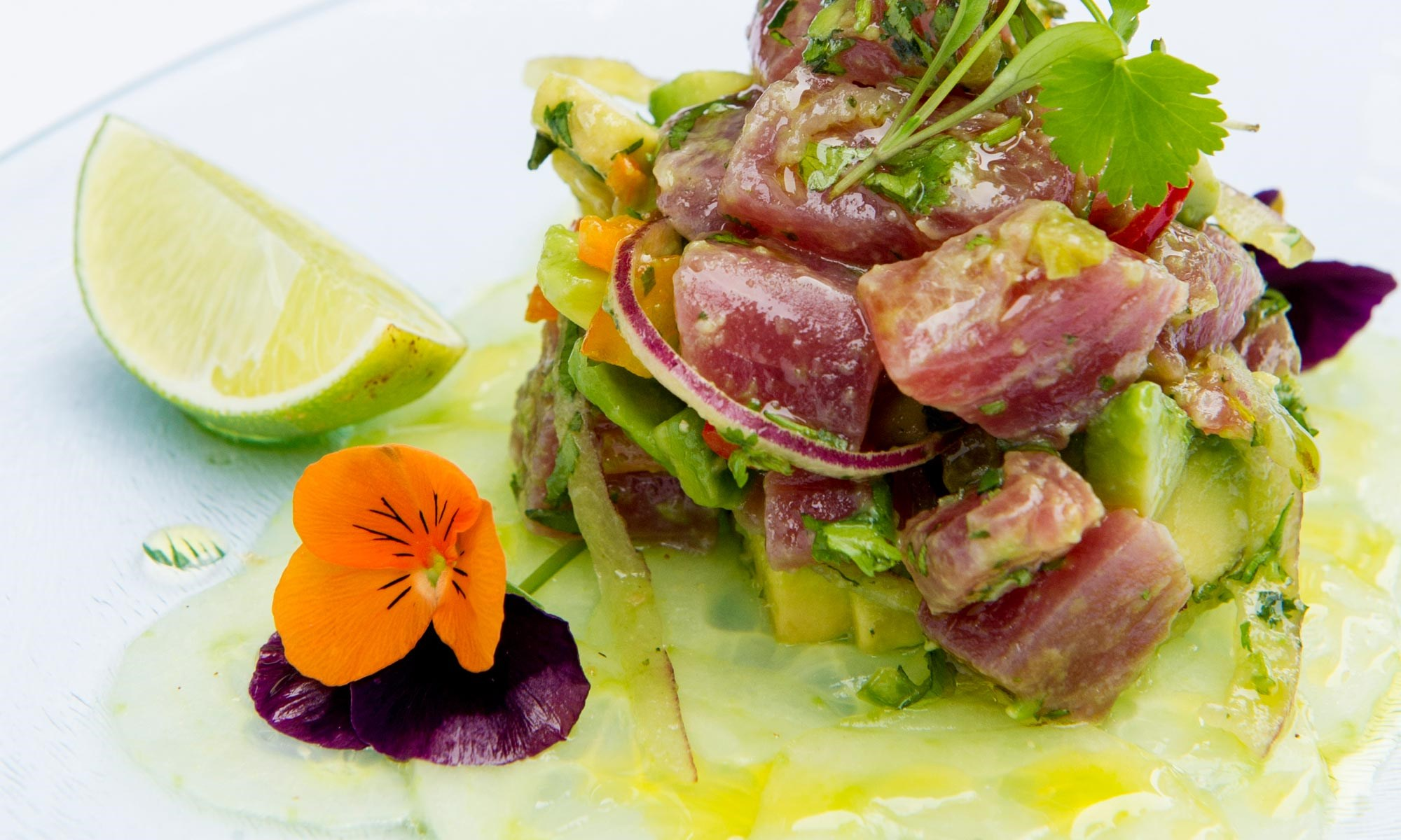 j sheekey tuna tartar with cucumber aji amarillo avocado by sim canetty clarke