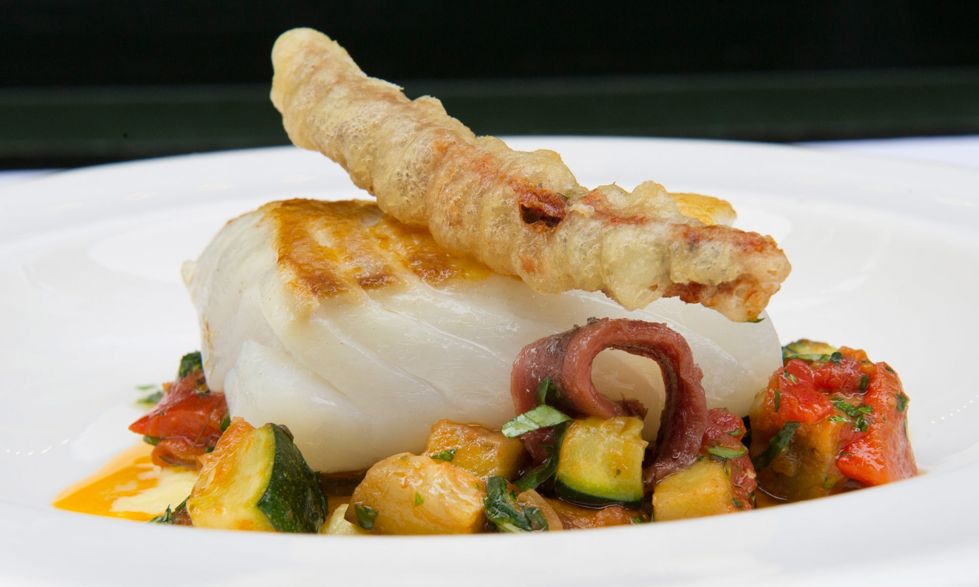 j sheekey fillet of cod with roasted peppers basil ortiz anchovies by sim canetty clarke