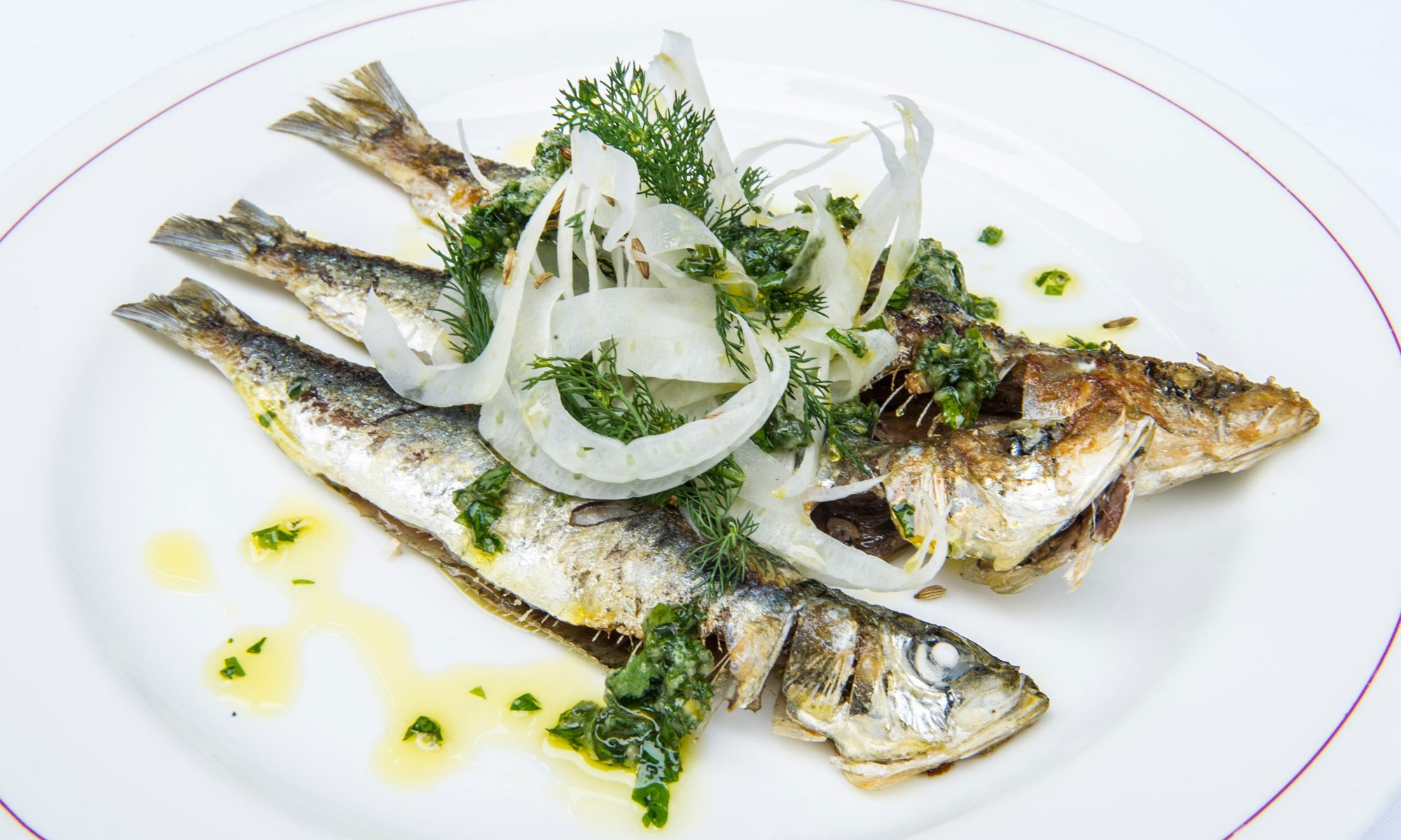 j sheekey griddled sardines w roasted garlic amalfi lemon fennel salad by sim canetty clarke
