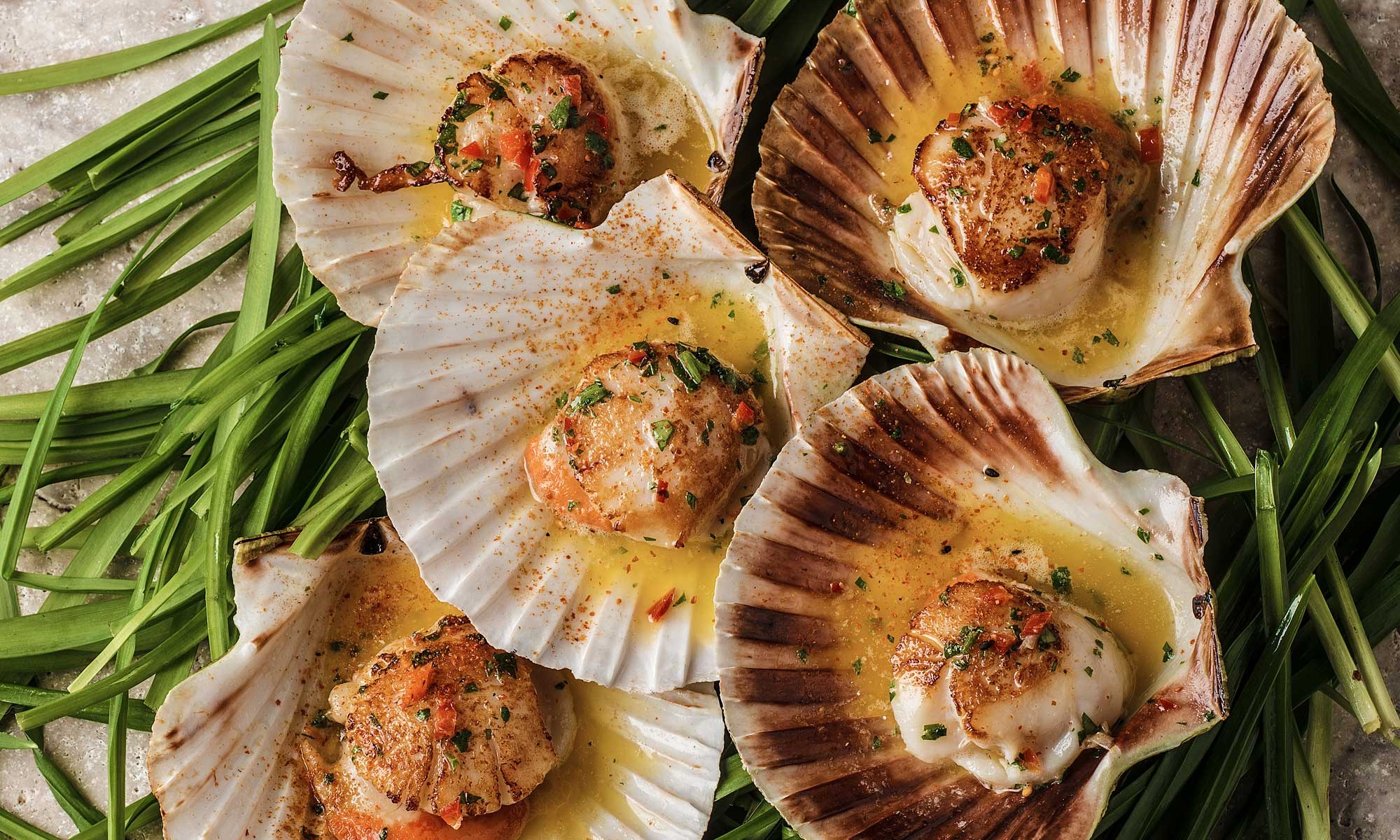 J Sheekey Isle of Mull Scallops in the half shell with chilli garlic butter by Romas Foord