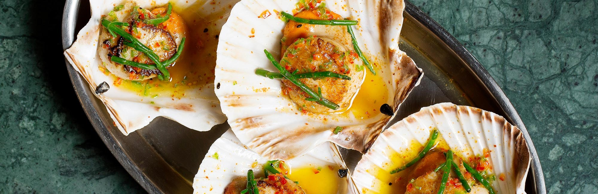 Scallops for lunch or dinner at J Sheekey Atlantic Bar in Leicester Square
