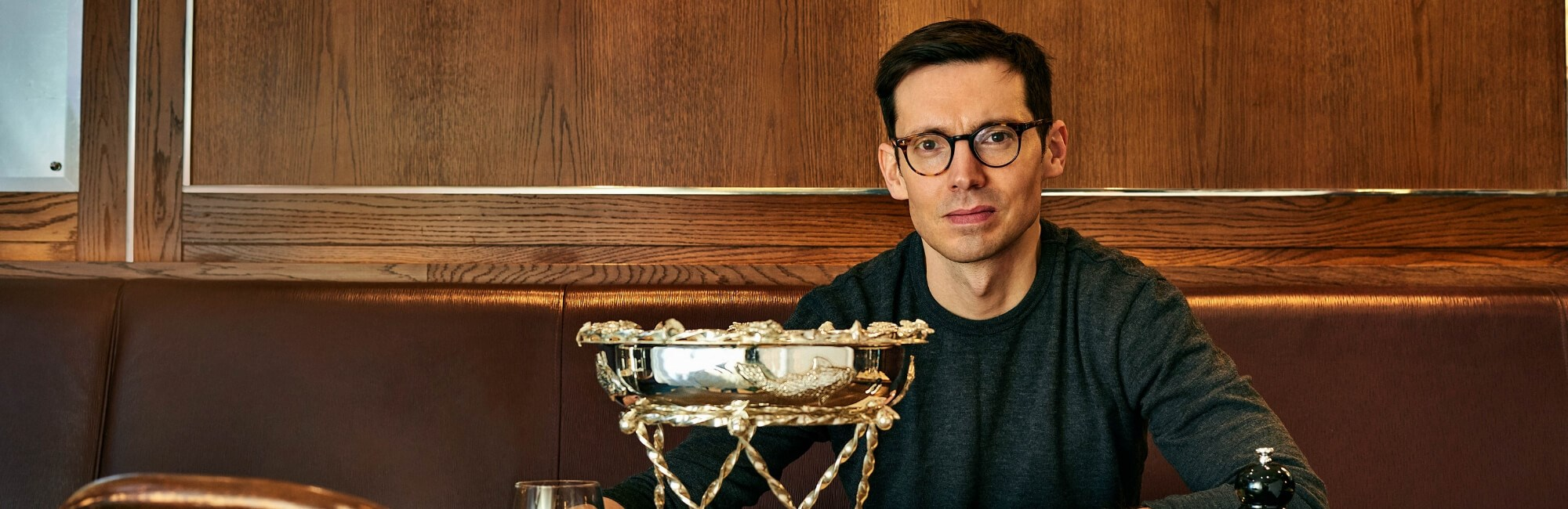 Fashion designer ERDEM at J Sheekey Atlantic Bar restaurant in Covent Garden