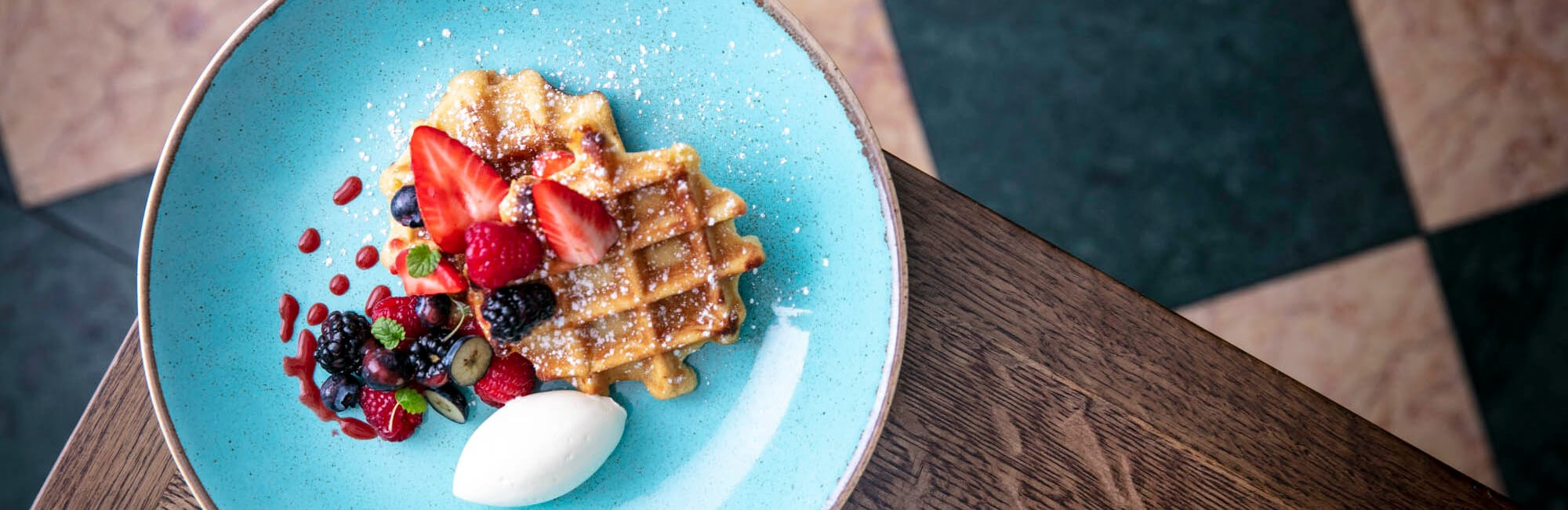 Weekend Brunch with Vanilla waffles at J Sheekey Atlantic Bar in Leicester Square