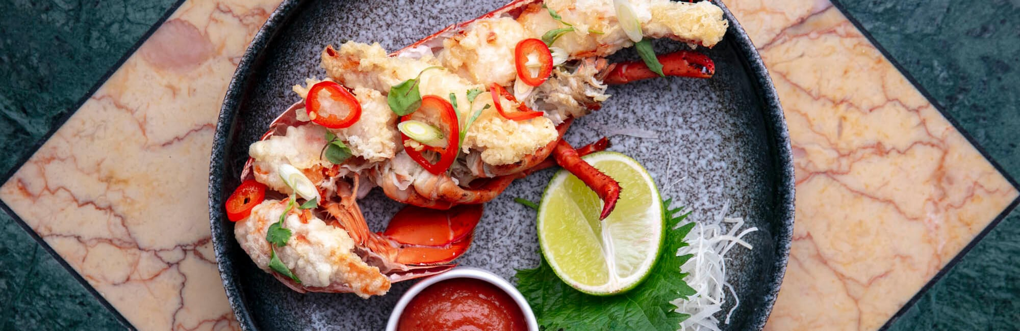 Lobster tempura available for weekend brunch at J Sheekey Atlantic Bar in London