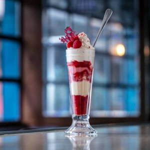 Raspberry knickerbocker glory for weekend brunch at J Sheekey Atlantic Bar