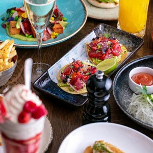 Sunday brunch dishes at J Sheekey Atlantic Bar, a restaurant located in Leicester Square